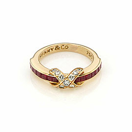 Tiffany & Co. Signature Diamond & Ruby X Crossover 18k Yellow Gold Ring Size 5.5