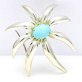 Tiffany & Co. 18k Yellow Gold Sterling Silver Fireworks Persian Turquoise Brooch
