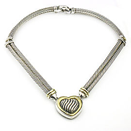 David Yurman Metro Cable Heart Necklace with Diamonds