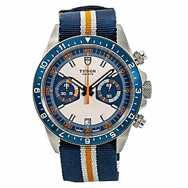 Tudor Heritage 70330B Mens Automatic Watch Blue Dial Chronograph SS 42mm