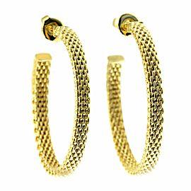 "Tiffany & Co. 18K Yellow Gold Somerset Mesh Large 1.44"" Hoop Earrings » U518"
