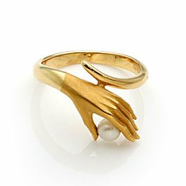 Carrera y Carrera Pearl 18k Yellow Gold Hand Ring Size 6