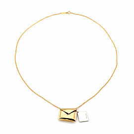 Tiffany & Co. Sweet Nothing 18k Yellow Gold Envelope & Letter Pendant Necklace