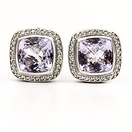 David Yurman Sterling Silver Amethyst Diamond Albion Stud Earrings