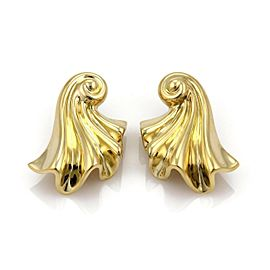 18k Yellow Gold Large Fancy Long Curled Shell Post Clip Earrings