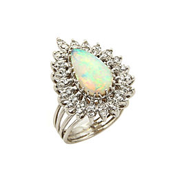 Estate Diamonds & Fire Opal 14k White Gold Cocktail Pear Shape Ring