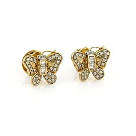 Estate Diamond 18k Yellow Gold Butterfly Stud Earrings