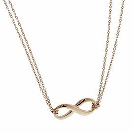 """Tiffany & Co 18K Rose Gold Double Chain Infinity Necklace Size 16"""" » U212"""