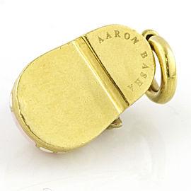 Aaron Basha 18k Yellow Gold Pink White Enamel Diamond Shoe