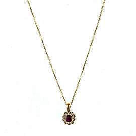 Burma Ruby Diamond Pendant Necklace 18 Karat Yellow Gold