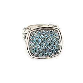 John Hardy Metallic Classic Chain Blue Topaz Sterling Silver Cushion Ring Size 7