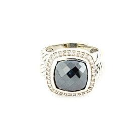 David Yurman Albion Diamonds & Hematite Sterling Cable Ring Size 6