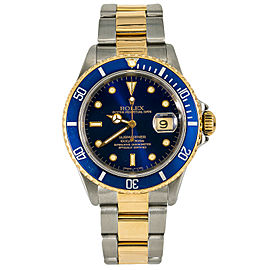 Rolex Submariner 16613 Mens Automatic Watch Blue Dial 18k Two Tone 40mm