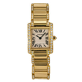 Cartier Tank Francaise 2385 WE1001RG Womens 18kt Gold Quartz Watch 3.6CT 22mm