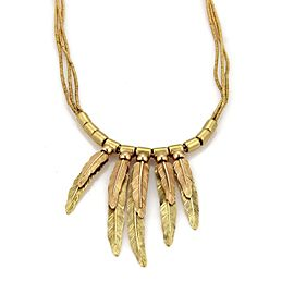H. Stern Stack Long Feather Triple Strand 18k Yellow & Rose Gold Necklace