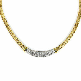 Roberto Coin Diamond 18k Two Tone Gold Basket Weave Collar Necklace