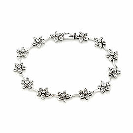 Floral Diamond 14k White Gold Link Bracelet
