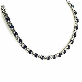1.95 CT Diamonds 8.20 CT Blue Sapphire 18K White Gold Necklace 16""