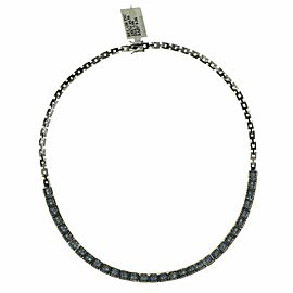 0.98 CT Diamonds 9.36 CT Blue Sapphire 18K White Gold Necklace 16""