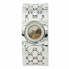 Gucci Twirl 112 Womens Quartz Watch Bronze Dial Bangle Stainless Steel 16mm