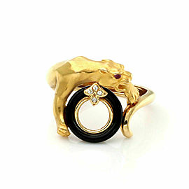 Carrera y Carrera Diamond Onyx Ruby Panther Ring in 18k Yellow Gold