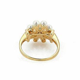 Mikimoto Akoya Pearls 18k Yellow Gold Floral Ring