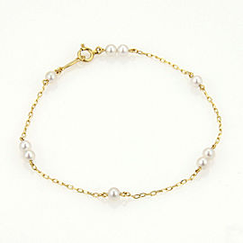 Mikimoto Akoya 3.5mm Pearls Chain Link 14k Yellow Gold Bracelet