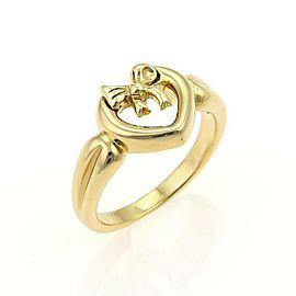 Tiffany & Co. Open Heart & Bow 18k Yellow Gold Ring Size 5.75