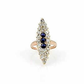 Estate Old Mine Cut Diamonds Sapphire Marquise 14k Rose Gold Ring