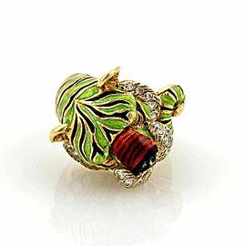 Modele Depose Diamonds & Enamel 18k Yellow Gold Tiger Ring - Size 5