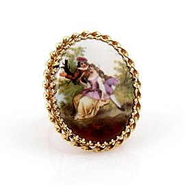 Estate Hand Painted Porcelain Romantic Couple Large Ring in 14k Yellow Gold