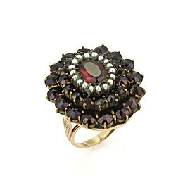 Vintge Garnet & Seed Pearls 14k Yellow Gold Cluster Ring