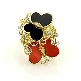Estate Diamonds Coral & Onyx 14k Yellow Gold Butterfly Cocktail Ring