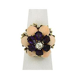 Estate Coral Amethyst & Diamond 14k Yellow Gold Large Floral Ring