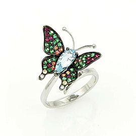 Estate 3.05ct Blue Topaz Tsavorite & Sapphire 18k gold Butterfly Ring