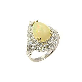 Estate 18k White Gold 6.75ct Diamonds & Opal Cocktail Ring - Size 6.75