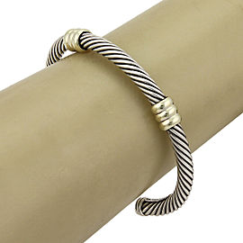 David Yurman Sterling 14k Yellow Gold Double Bar Cable Cuff Bangle Bracelet