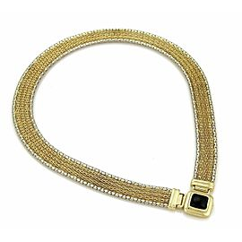 Estate 14k Two Gold Gold Onyx 14mm Wide Fancy Mesh Collar Necklace
