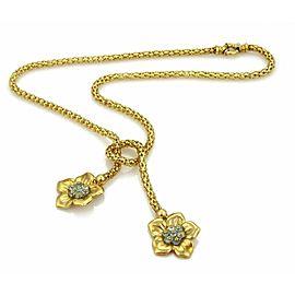 Estate Blue Topaz 18k Gold Fancy Flex Tube 2 Floral Tassel Necklace