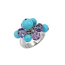 Turquoise & Amethyst Cluster Bead 18k White Gold Ring