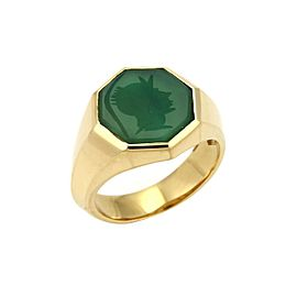 David Yurman Green Onyx Intaglio 18k Yellow Gold Octagon Ring Size 10