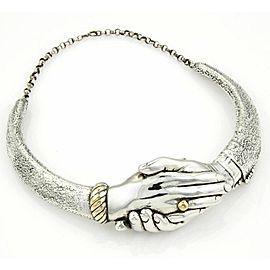Vintage Yaacov Heller Handshake Choker Necklace in Sterling Silver
