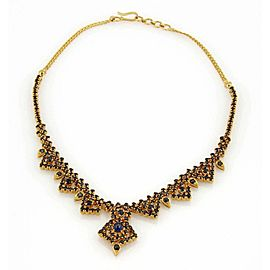 """Estate Elegant 22k Gold Sapphire Drop Necklace -14.5"""" Long!"""