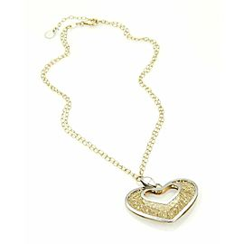 Open Design Mesh Heart Pendant & 14k Two Tone Gold Oval Link Chain