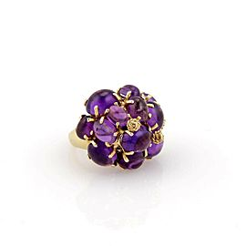 Estate 14k Yellow Gold Amethyst Cabochon Cluster Ring