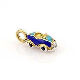 Aaron Basha Diamond Sapphire & Enamel 18k Yellow Gold Car Charm