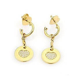 Pasquale Bruni Amore Diamond 18k Yellow Gold Hearts Round Dangle Earrings