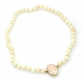 Estate Coral Beads Necklace with Carved Coral Cameo 14k Gold Clasp