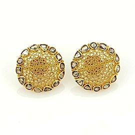 Estate 1.50ct Chocolate Rose Cut Round 18k Yellow Gold Dome Stud Earrings