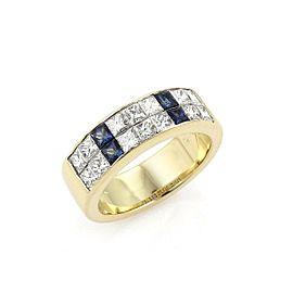 Tiffany & Co. 1.50ct Princess Cut Diamonds & Sapphire Band Ring Size 5